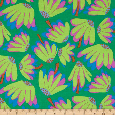 Kaffe Fassett Collective Meadow Lazy Daisy Emerald