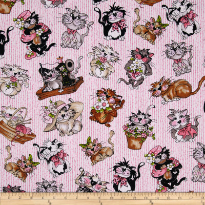 Loralie Fancy Cats Tossed Pink
