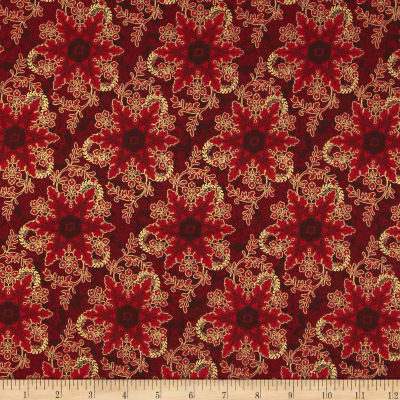 Pear Tree Greetings Metallic Snowflakes Scarlet/Gold