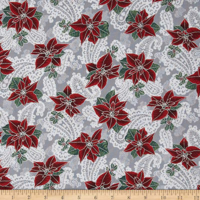 Pear Tree Greetings Metallic Poinsettia/Paisley Storm/Silver