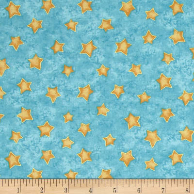 Winter Wonderland Metallic Stars Turquoise