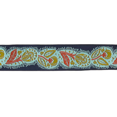 "1 1/2"" Anna Maria Horner Flourish Ribbon Orange & Aqua"