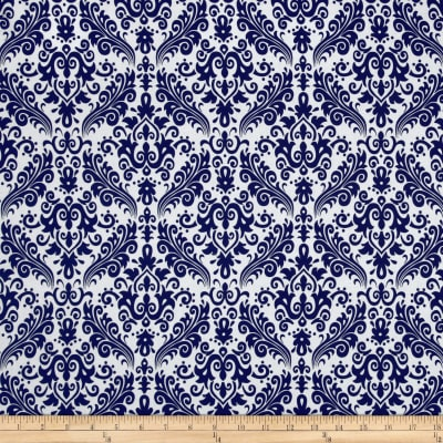 Riley Blake Medium Damask White/Navy