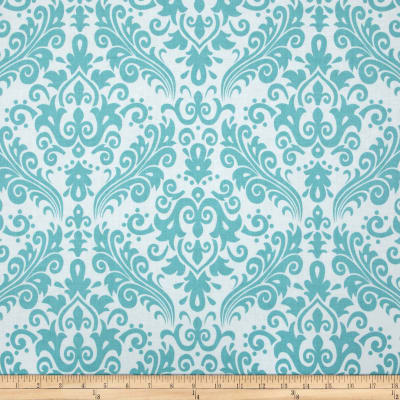 Riley Blake Large Damask White/Aqua