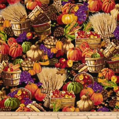 Days of Autumn Allover Harvest Scene Multi