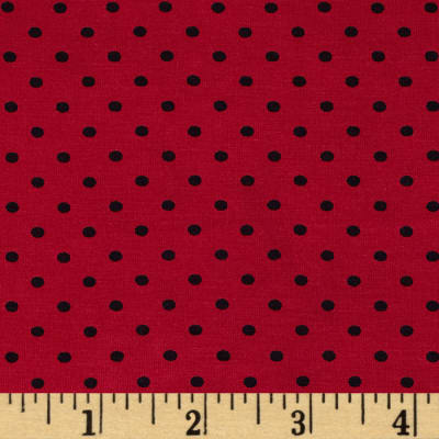 Stretch Bamboo Rayon Jersey Knit Polka Dot Red/Black