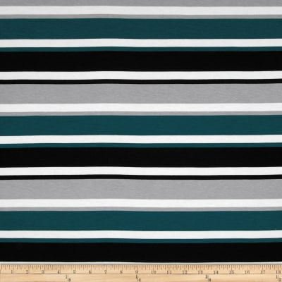 Dakota Jersey Knit Stripes Teal/Black
