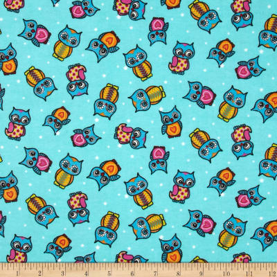 Flannel Owls & Dots Aqua
