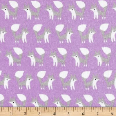 Cloud 9 Fanfare Organic Flannel Foxes Orchid