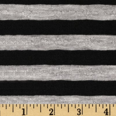 Yarn Dyed Pointelle Jersey Knit Stripe Grey/Black