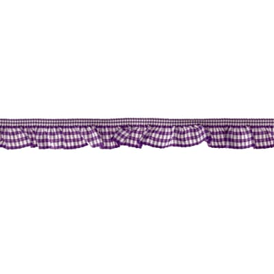 "3/4"" Stretch Gathered Gingham Trim Purple"