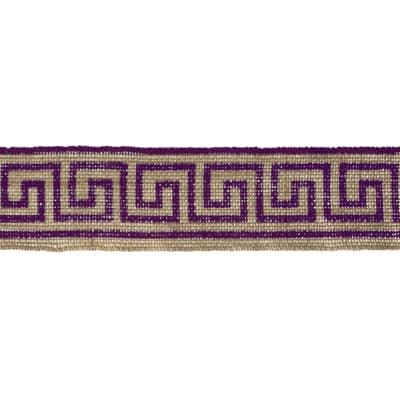 "2 3/8"" Burlap Trim Greek Key Purple"
