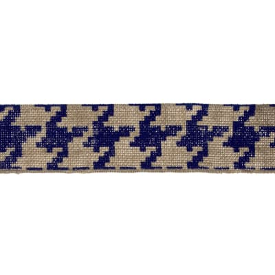 "2 3/8"" Burlap Trim Houndstooth Navy Blue"