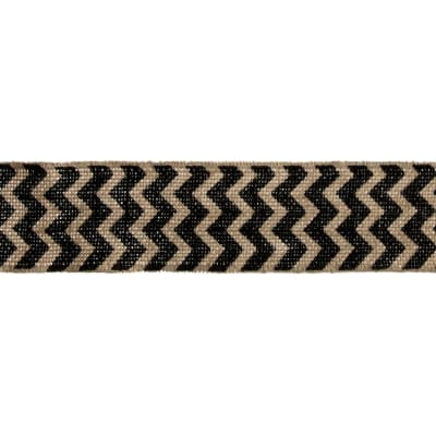 "2 3/8"" Burlap Trim Chevron Black"