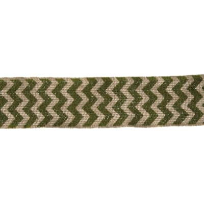 "2 3/8"" Burlap Trim Chevron Olive Green"