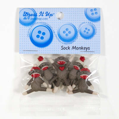 Dress It Up Embellishment Buttons Sock Monkeys