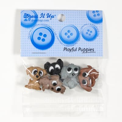 Dress It Up Embellishment Buttons Playful Puppies