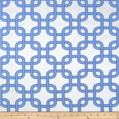 Roller Chain Link Satin Jacquard Blue/Grey