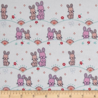 Michael Miller Cynthia Rowley Oh Baby Flannel Bunny Scallop Pink