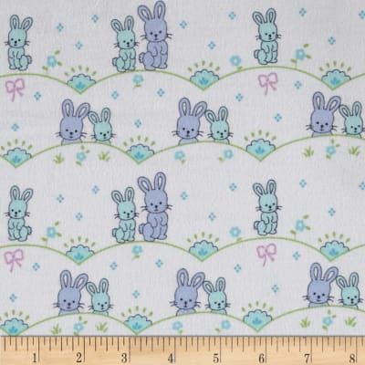 Michael Miller Cynthia Rowley Oh Baby Flannel Bunny Scallop Blue