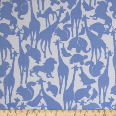 Michael Miller Cynthia Rowley Oh Baby Flannel Animal Silhouettes Blue