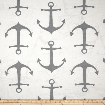 Premier Prints Anchors Slub Ash Grey