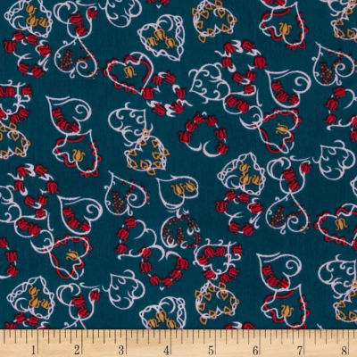 Boutique Peachskin Hearts Red/Blue