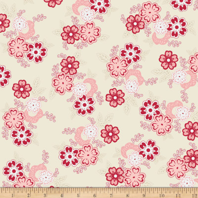 Riley Blake Raspberry Parlour Large Floral Cream
