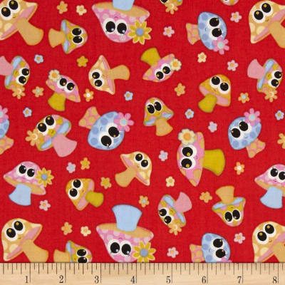Kitschy Kawaii Mushrooms Red