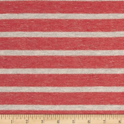 Designer French Terry Knit Stripes Red/Beige