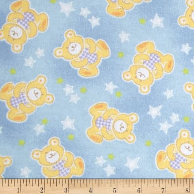Beary Stars Flannel Blue