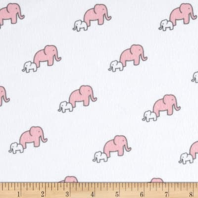 Little Safari Flannel Elephants Pink