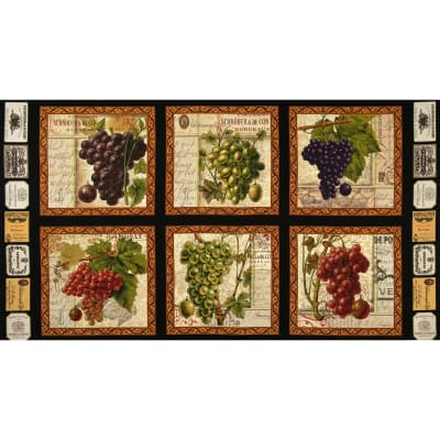 Italian Vineyard Panel Black