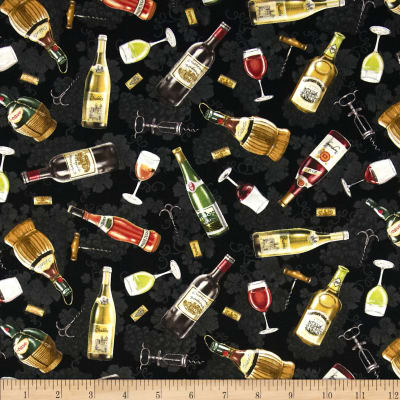 Italian Vineyard Tossed Wine Bottles Black