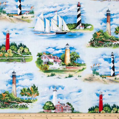 Lighthouses Allover Blue
