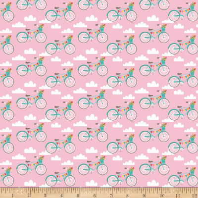 Riley Blake Fancy Free Fancy Bikes Pink
