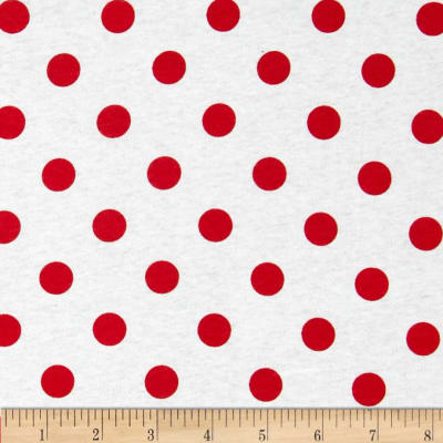 Fabric Merchants Cotton Jersey Knit Polka Dots Dark Red