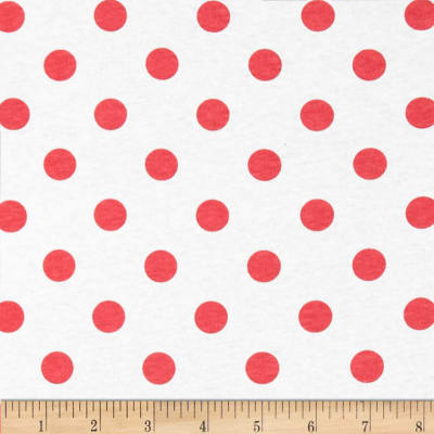 Cotton Jersey Knit Polka Dots Red