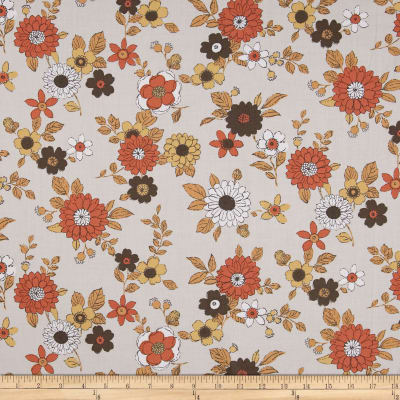 Kaufman Lennox Gardens Cotton Lawn Small Floral Tan