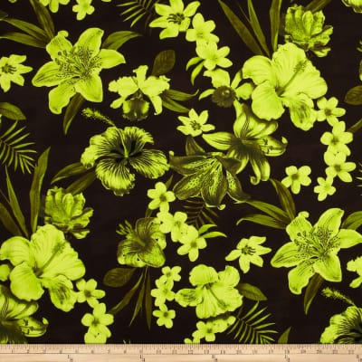Kaufman Tahitian Nights Poplin Spaced Flowers Lime