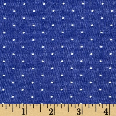 Kaufman Cotton Chambray Dots Royal
