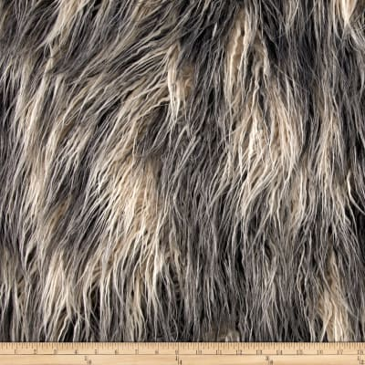 Shannon Faux Fur Artic Mongolian Fur Ivory/Grey