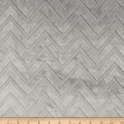 Shannon Minky Cuddle Embossed Chevron Silver