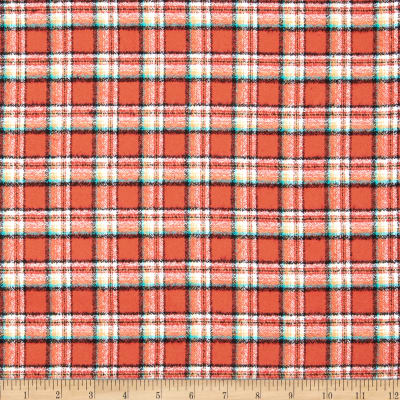 Kaufman Mammoth Flannel Plaid Papaya