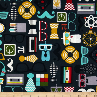 Timeless Treasures Geek Chic Icons Charcoal