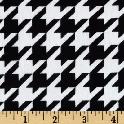 Riley Blake Cotton Jersey Knit Medium Houndstooth Black