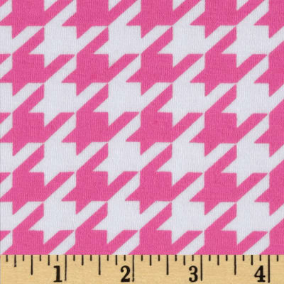 Riley Blake Cotton Jersey Knit Medium Houndstooth Hot