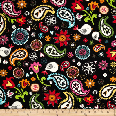 Timeless Treasures Folk Song Birds And Paisley Black