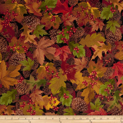 Timeless Treasures Cabin Flannel Packed Leaves Autumn