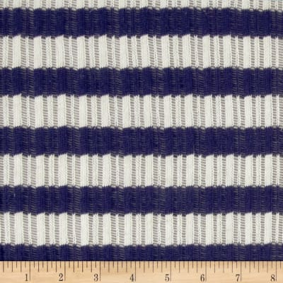 Designer Sweater Knit Open Weave Blue/White